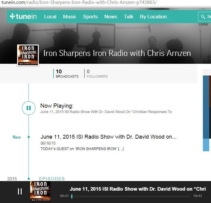 """""""Iron Sharpens Iron"""" Radio now on TuneIn Radio"""
