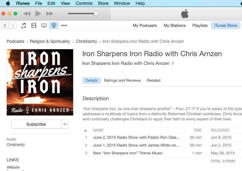 """""""Iron Sharpens Iron"""" Radio now on iTunes"""